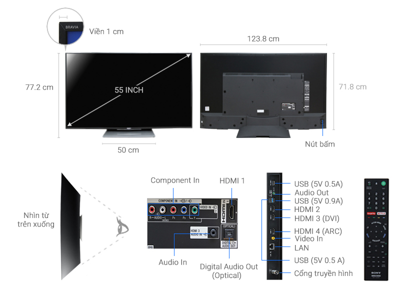 ảnh kỹ thuật tivi KD-55S8500D