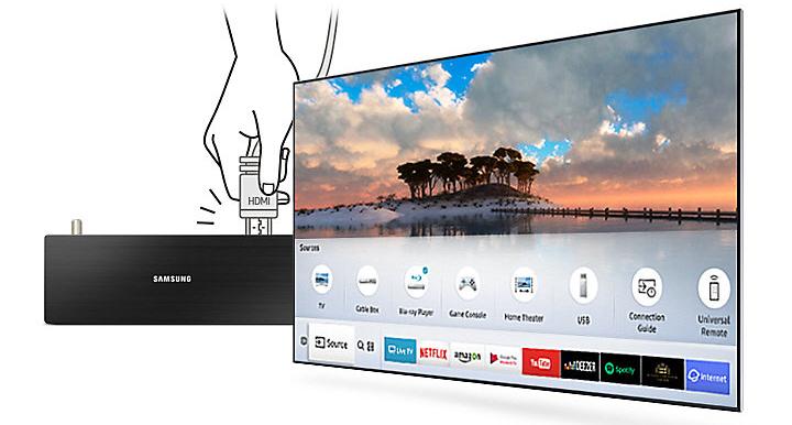 Smart Tivi 4K Samsung 75 inch 75MU7000 tự động nhận diện kết nối