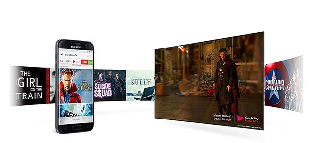 Smart Tivi QLED 4K Samsung QA55Q8CAM trình chiếu màn hình điện thoại