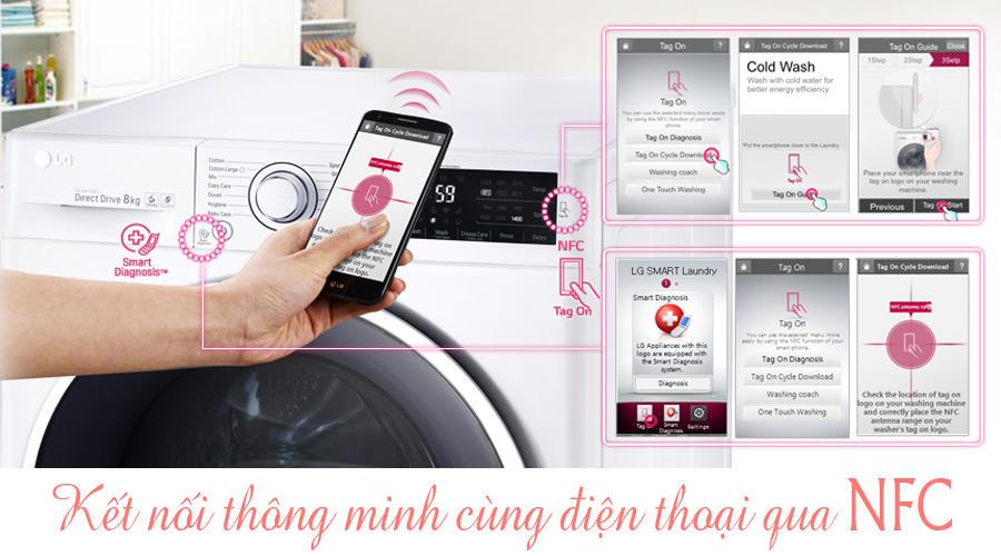 Máy giặt sấy LG F2514DTGW - Kết nối với điện thoại