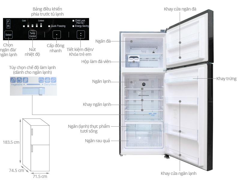 ảnh kỹ thuật tủ lạnh VG540PGV3