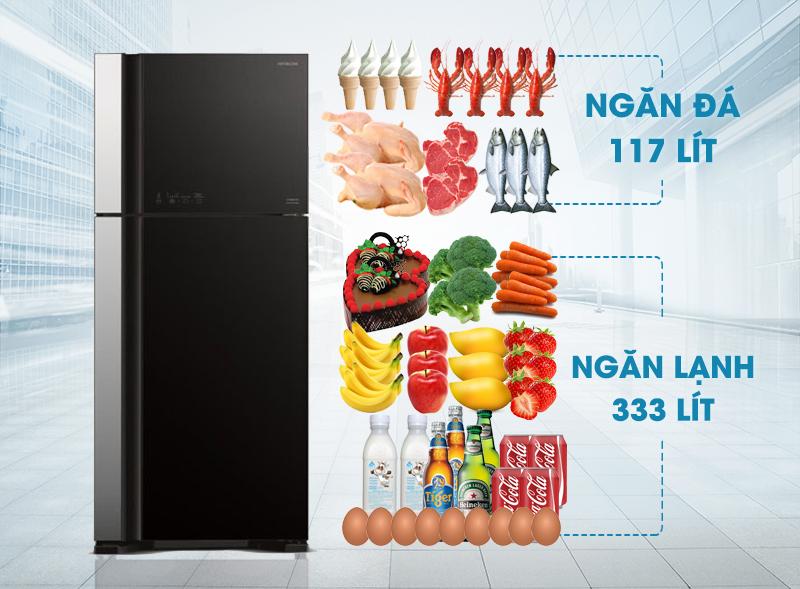 dung tích tủ lạnh hitachi R-VG540PGV3