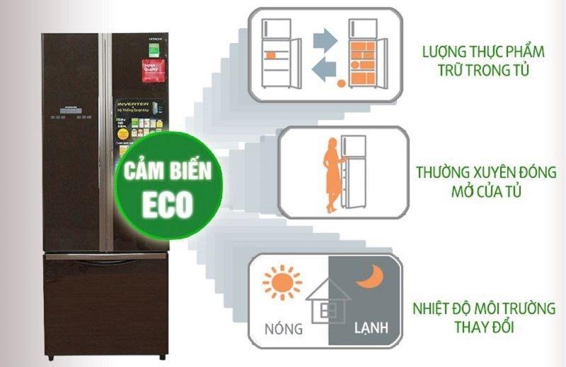 Tủ lạnh Hitachi 382 lít R-WB475PGV2-GBK Cảm biến nhiệt Eco