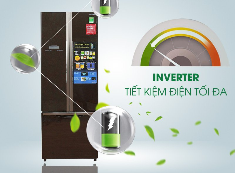 Tủ lạnh Hitachi 382 lít R-WB475PGV2-GBK công nghệ Inventer tiết kiệm điện