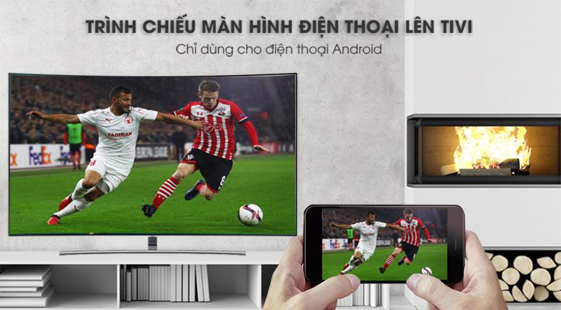 Smart Tivi QLED Samsung 4K 55 inch QA55Q8CNAKXXV trình chiều màn hình điện thoại lên tivi