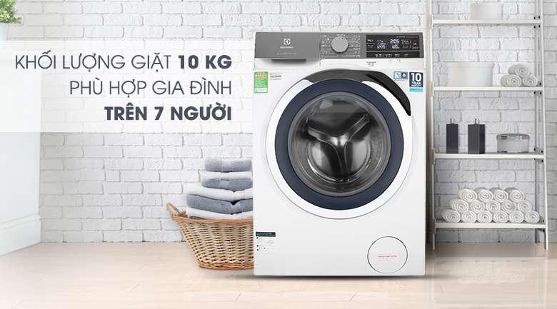 Máy giặt Electrolux Inverter 10 kg EWF1023BEWA - Khối lượng giặt 10 kg, phù hợp gia đình trên 7 người