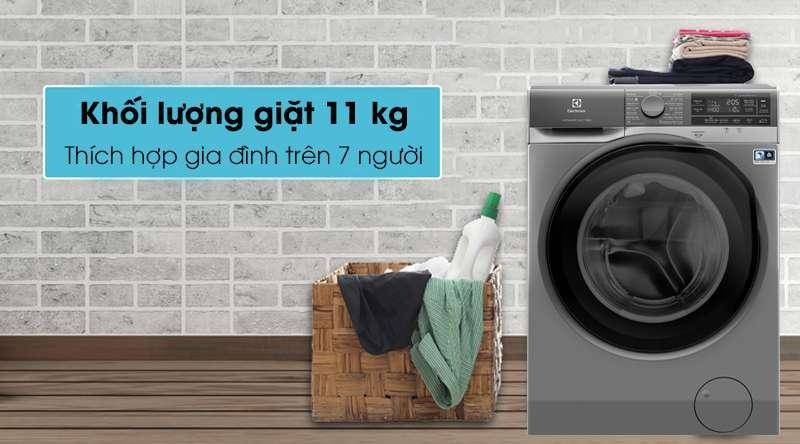 Máy giặt Electrolux Inverter 11 kg EWF1141AESA - Khối lượng giặt 11 kg, phù hợp gia đình trên 7 người