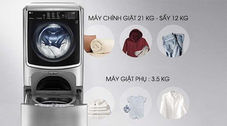 Khối lượng giặt lớn phù hợp cho gia đình đông thành viên - Máy giặt LG Twinwash F2721HTTV & T2735NWLV