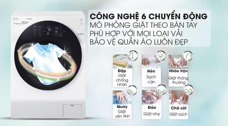 6 motion DD - Máy giặt sấy LG Inverter 10.5 kg FG1405H3W1