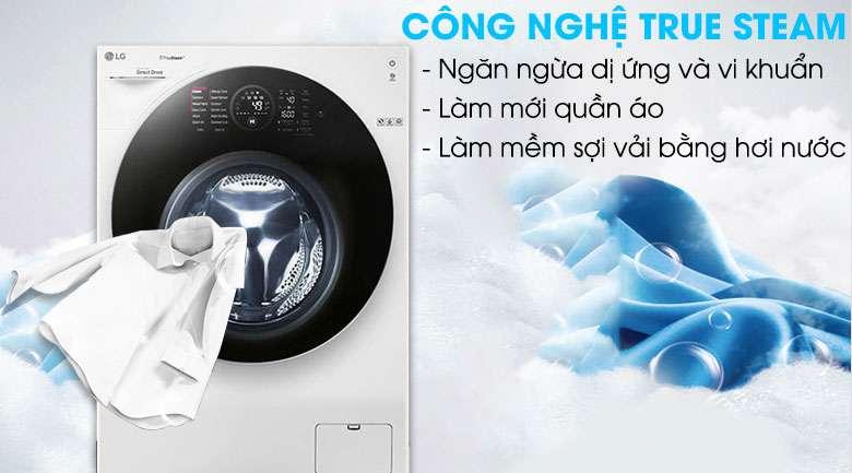 Giặt hơi nước True steam - Máy giặt sấy LG Inverter 10.5 kg FG1405H3W1