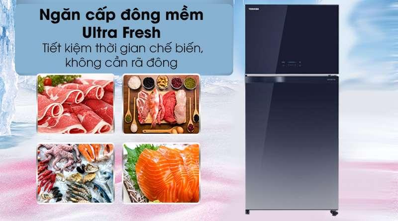 Tủ lạnh Toshiba Inverter 555 lít GR-AG58VA GG-Tiết kiệm thời gian chế biến với ngăn cấp đông mềm ULTRA FRESH