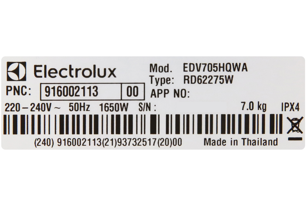 May Say Electrolux 7 Kg Edv705hqwa